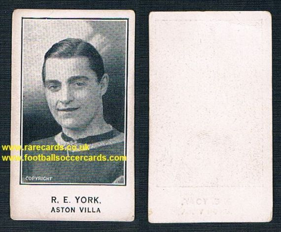 1924 PLAIN BACK Richard 'Dickie' Yorke R.E. Aston Villa Barratt Sherbet Novelties card